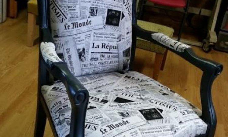 Cécile: fauteuil Voltaire après loisir créatif en tapisserie d'ameublement Toulouse