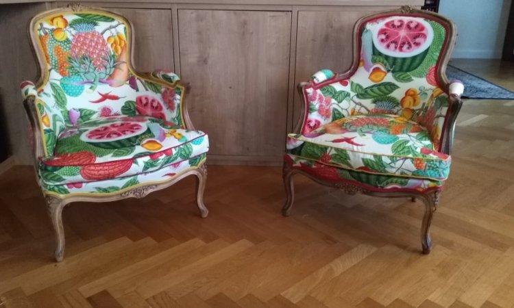 Maud: bergèreLouis XV après loisir créatif en tapisserie d'ameublement Toulouse