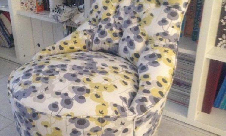 Sandra: chauffeuse capitonnée après loisir créatif en tapisserie d'ameublement Toulouse