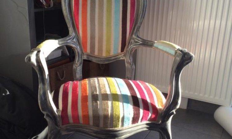 Coralie: fauteuil Louis Phlippe après loisir créatif  en tapisserie d'ameublement Toulouse