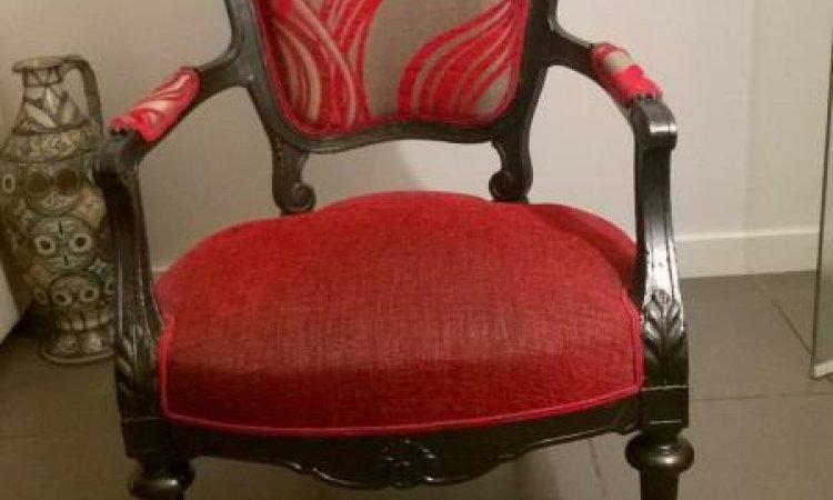 Marjorie: fauteuil Louis Phlippe après loisir créatif en tapisserie d'ameublement Toulouse