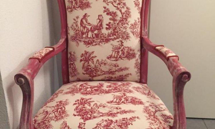Coralie: fauteuil Voltaire après loisir créatif  en tapisserie d'ameublement Toulouse