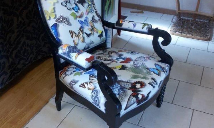 Martine: fauteuil Voltaire après loisir créatif en tapisserie d'ameublement Toulouse